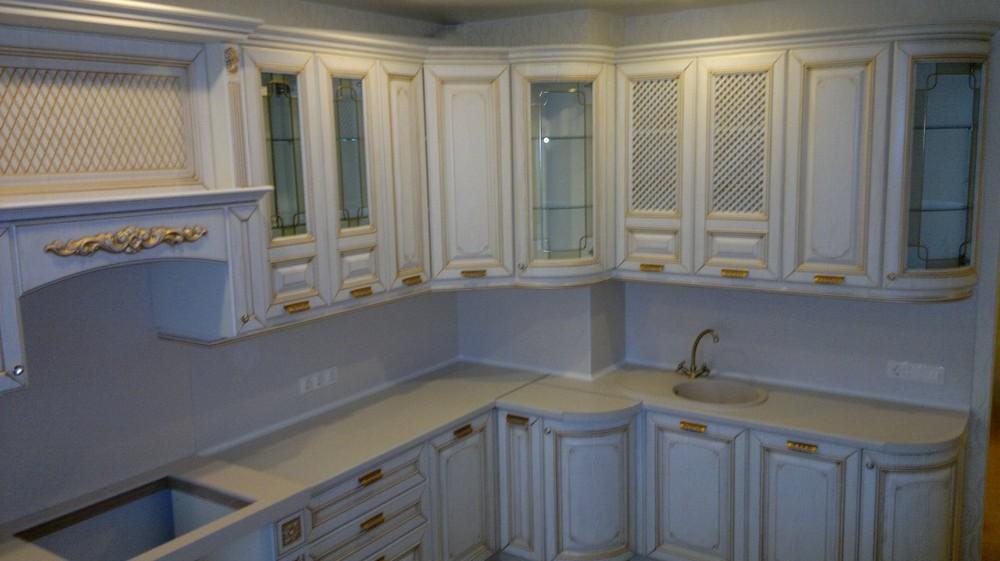 Белый кухонный гарнитур-Кухня МДФ в эмали «Модель 126»-фото1