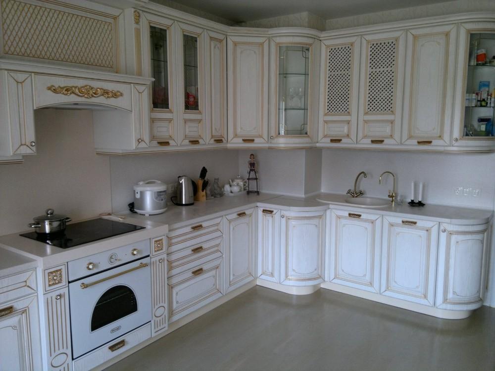 Белый кухонный гарнитур-Кухня МДФ в эмали «Модель 126»-фото6
