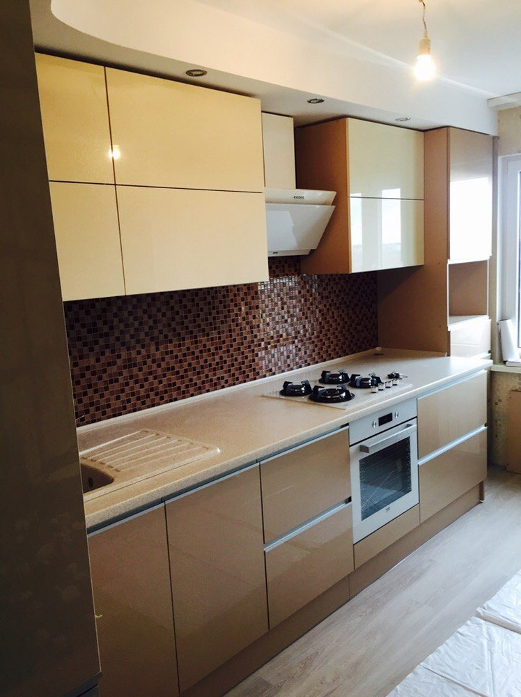 Белый кухонный гарнитур-Кухня МДФ в эмали «Модель 150»-фото1