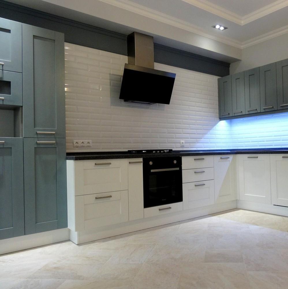 Белый кухонный гарнитур-Кухня МДФ в ПВХ «Модель 145»-фото1