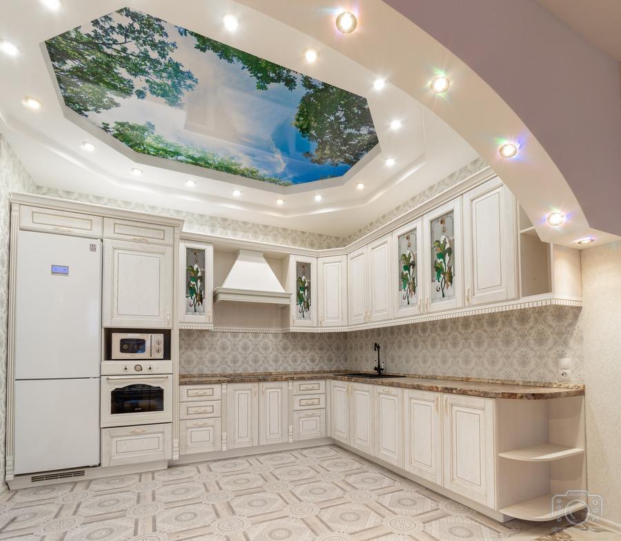 Белый кухонный гарнитур-Кухня из шпона «Модель 8»-фото1