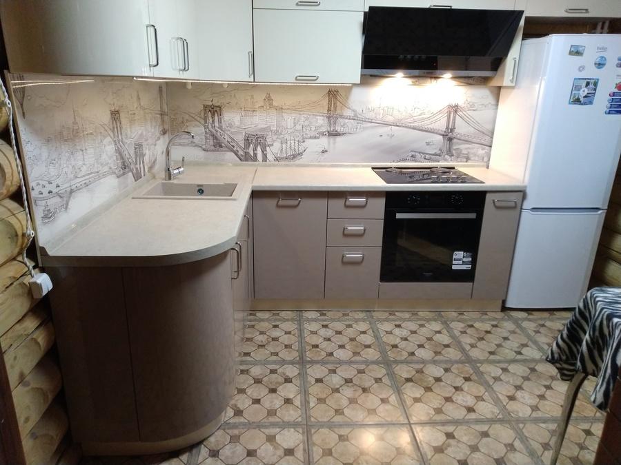 Белый кухонный гарнитур-Кухня МДФ в ПВХ «Модель 38»-фото1