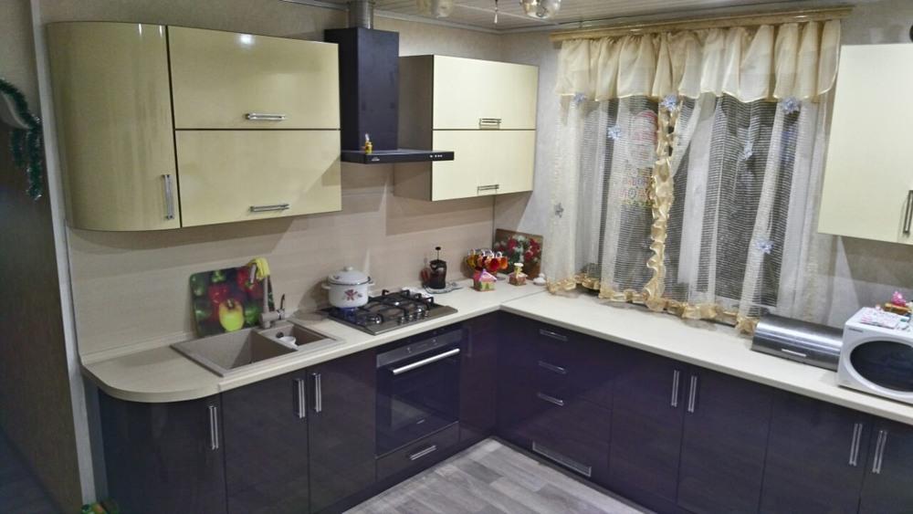 Глянцевые кухни-Кухня из шпона «Модель 344»-фото1