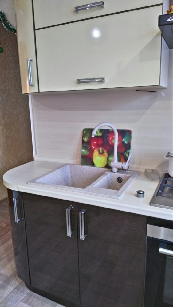 Глянцевые кухни-Кухня из шпона «Модель 344»-фото3