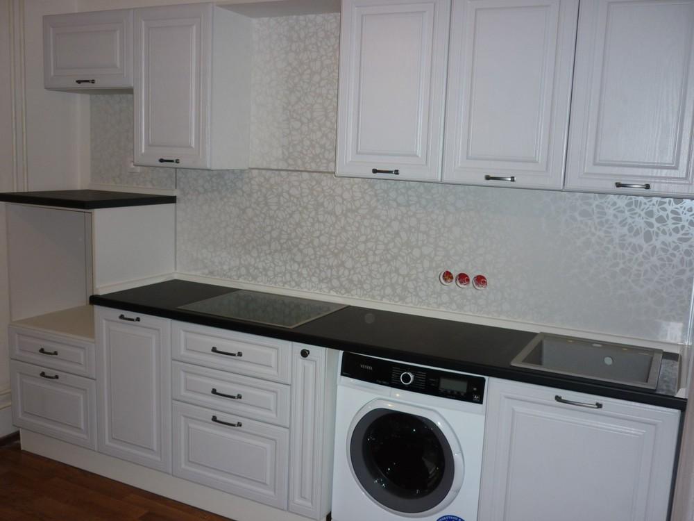 Белый кухонный гарнитур-Кухня МДФ в ПВХ «Модель 241»-фото1