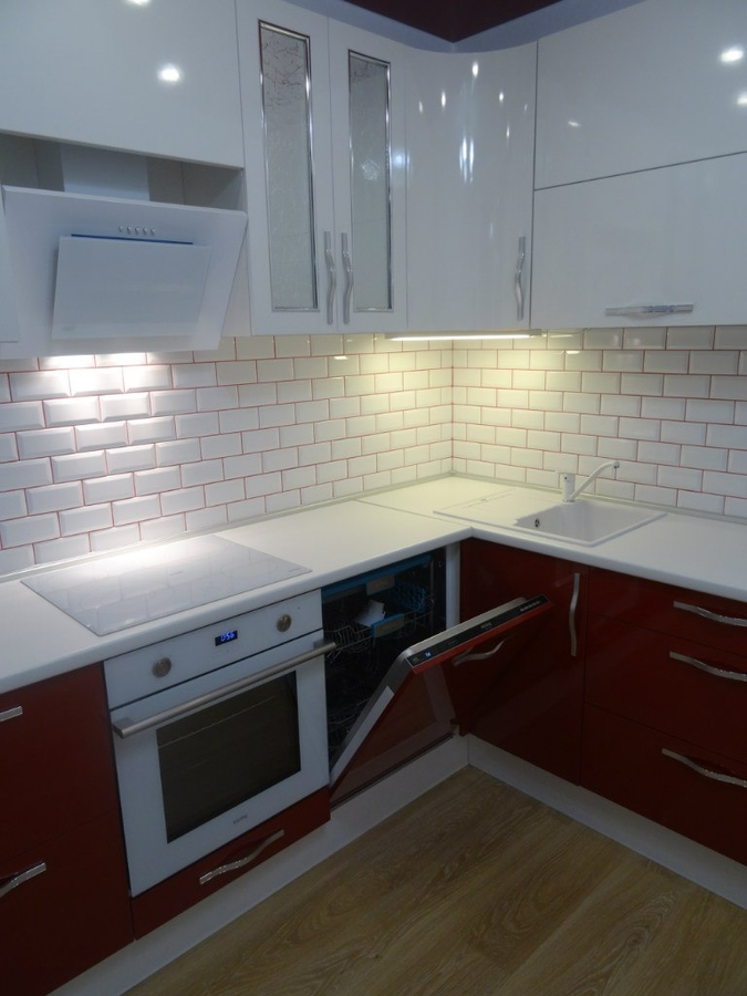 Белый кухонный гарнитур-Кухня из пластика «Модель 365»-фото4
