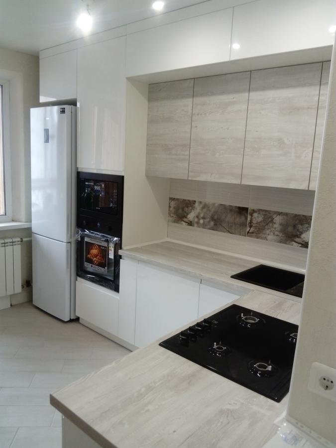 Белый кухонный гарнитур-Кухня МДФ в эмали «Модель 429»-фото1