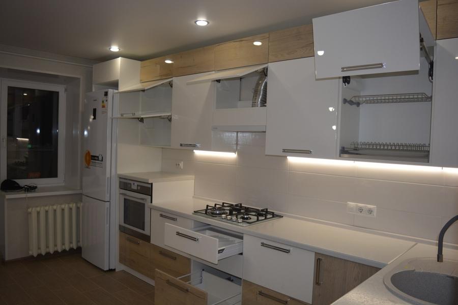 Белый кухонный гарнитур-Кухня из пластика «Модель 452»-фото3