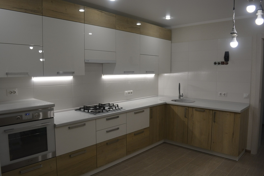 Белый кухонный гарнитур-Кухня из пластика «Модель 452»-фото1
