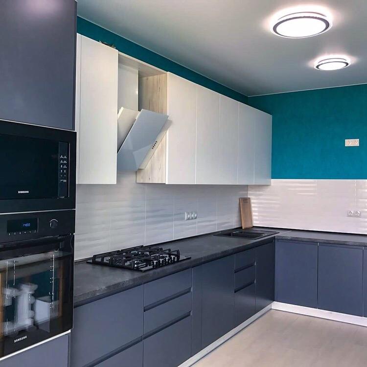 Белый кухонный гарнитур-Кухня МДФ в эмали «Модель 419»-фото1