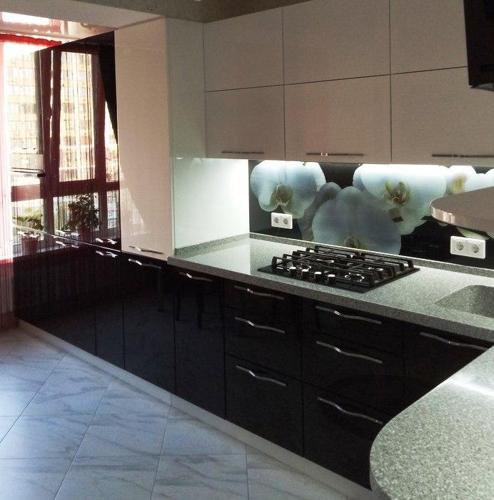 Белый кухонный гарнитур-Кухня из пластика «Модель 382»-фото1